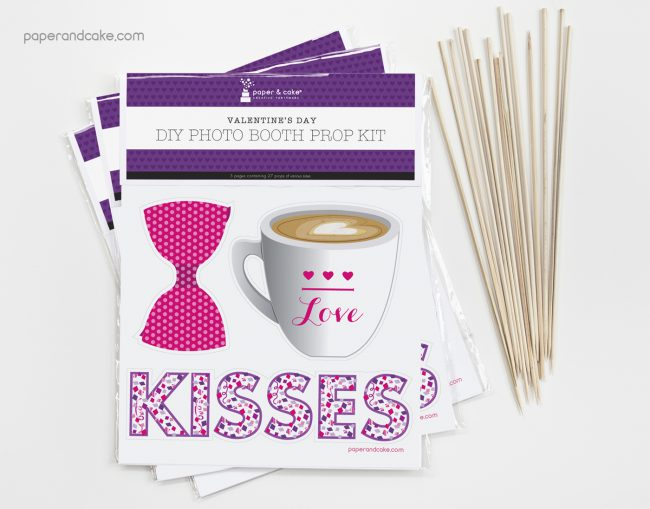 Valentine's Day Photo Booth Props DIY Kit