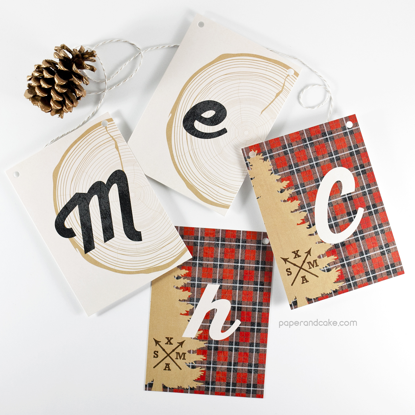 plaid merry christmas pennant banner paper and cake. Black Bedroom Furniture Sets. Home Design Ideas