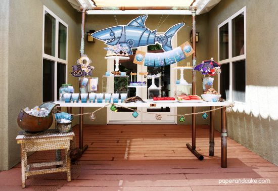 Marine Steampunk printable birthday party decor