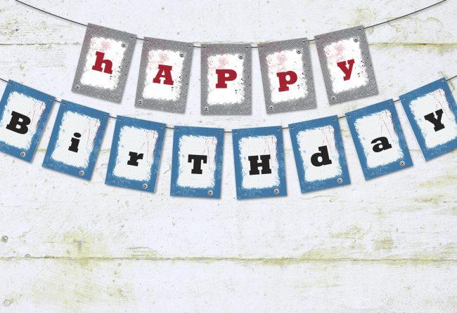 backyard battle happy birthday banner