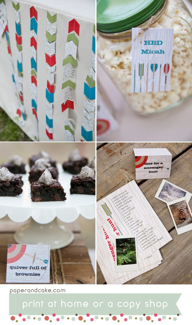bows and arrows printable party