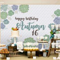 Succulents Party Backdrop Banner