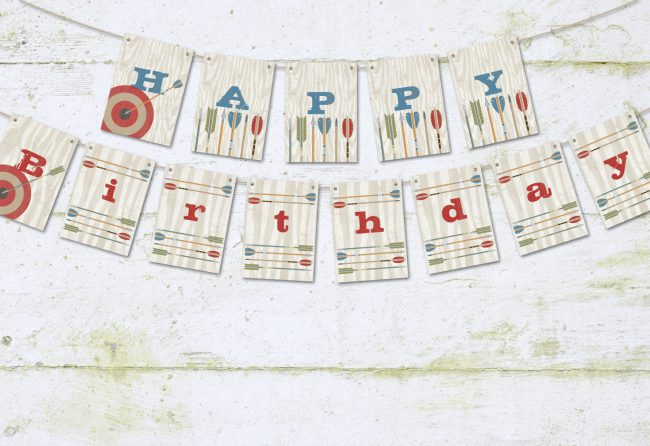 Bow and Arrows Happy Birthday Pennant Banner