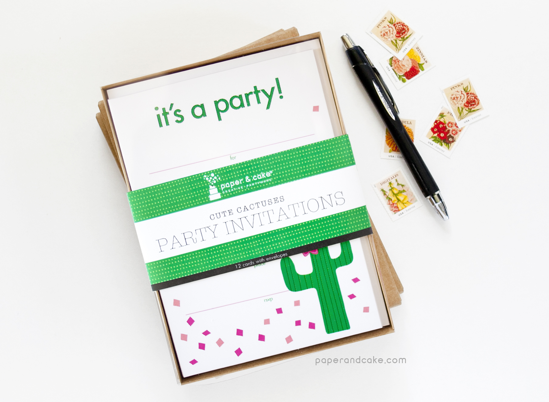 Cactus Fill-In Invitations - Paper and Cake Paper and Cake