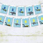 Sharks and SCUBA Happy Birthday Pennant Banner