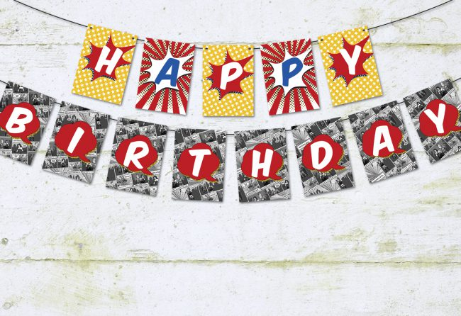 Comic Book Superhero Happy Birthday Pennant Banner