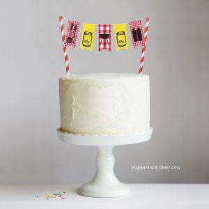 bbq Mini-Bunting Cake Topper