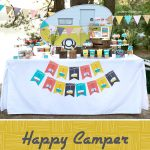 happy camper party pin