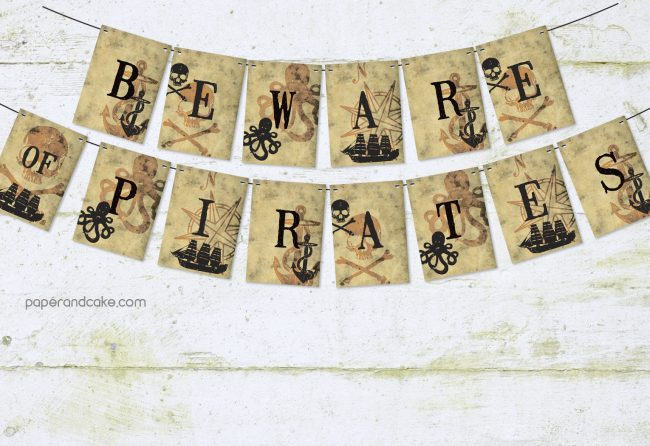 pirate party pennant banner