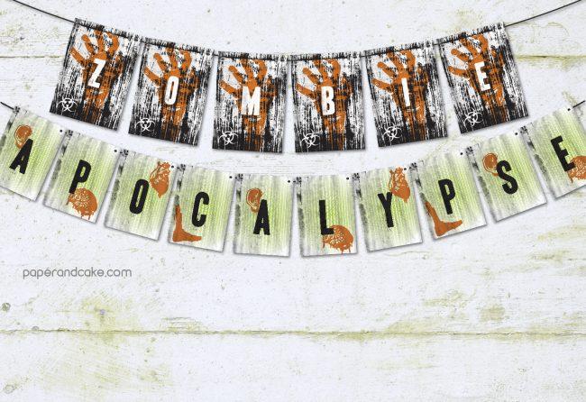 Zombie Apocalypse Pennant Banner