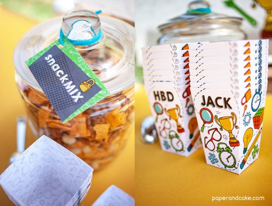 2 photo collage of a glass jar with snack mix and a stack of paper popcorn boxes